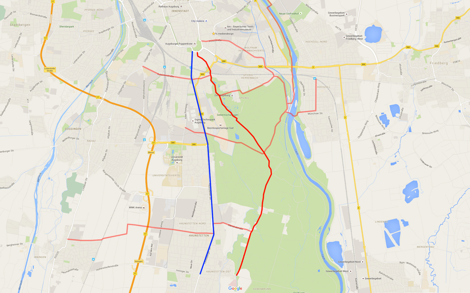 Blau markiert der Weg an der Haunstetter Str entlang. Rot der kürzeste Weg durch den Stadtwald (mit den diversen möglichen Abzweigungen)