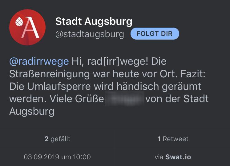 Tweet der Stadt Augsburg, in dem gesagt wird, dass die Umlaufsperre händisch geräumt wird